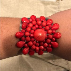 Red bead cuff bracelet